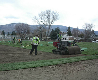 big roll installer, penticton sport field