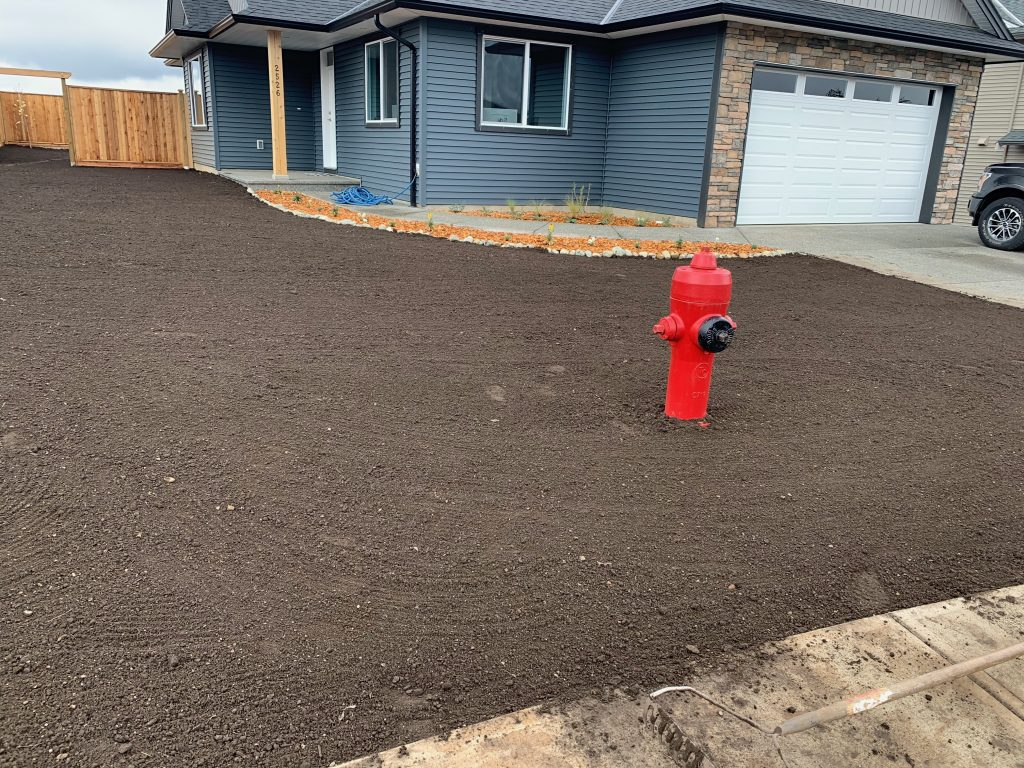 Just before the new lawn is installed on Vancouver Island.